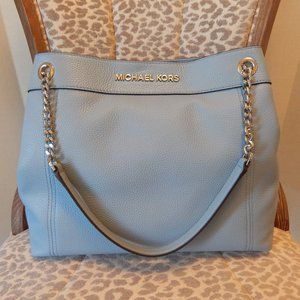 M Kors Jet Set LG Leather Chain Shoulder Bag Blue